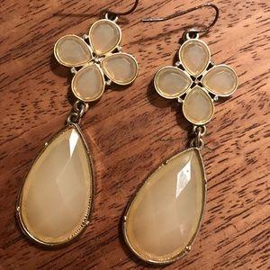 Fun cream colored stone dangling earrings